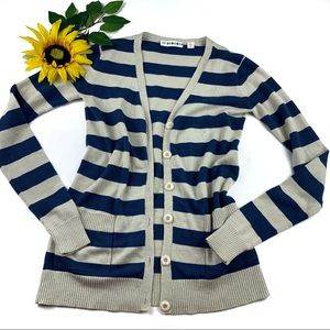 Urban Outfitters Striped Cardigan Navy Wool Blend